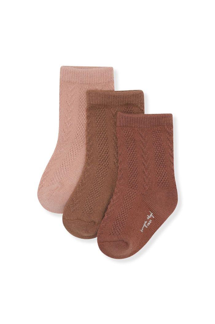 Konges Sløjd 3 Pack Pointelle Socks Mocca, Rose Blush, Choco Bean_1