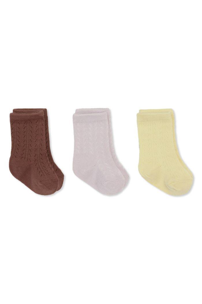 Konges Sløjd 3 Pack Pointelle Socks Lemon Sorbet/Lavendar Mist/Fig Brown_1
