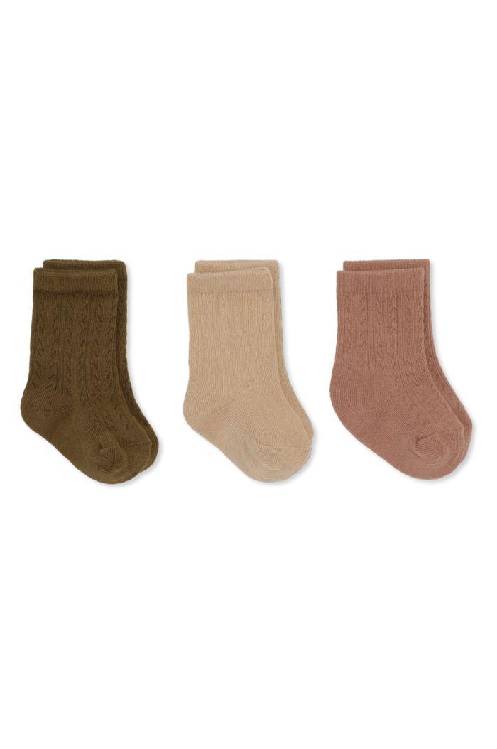 Konges Sløjd 3 Pack Pointelle Socks Brush/Moonlight/Breen_1