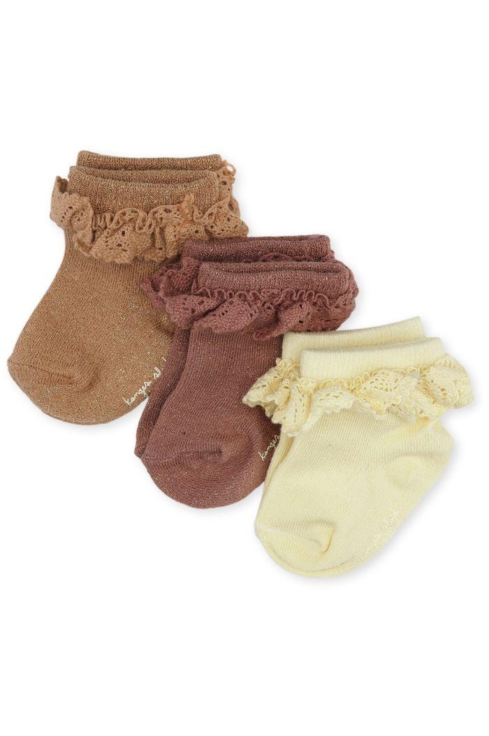Konges Sløjd 3 Pack Lurex Socks With Frills Apple Butter_1