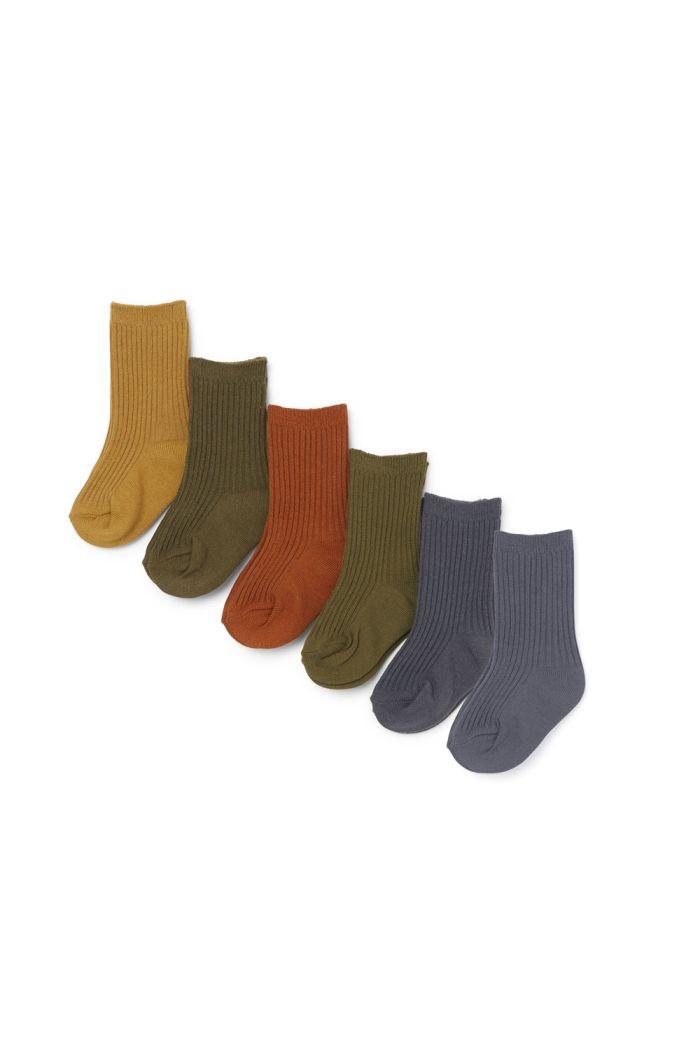 Konges Sløjd 6 Pack Rib Socks Butterscotch_1