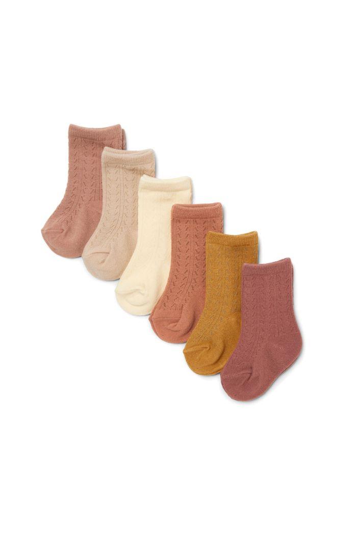 Konges Sløjd 6 Pack Pointelle Socks Sahara Shades_1