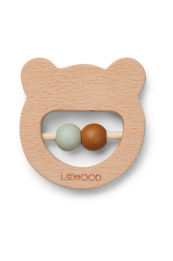 Liewood Ivalu wood teethers Mr bear natural