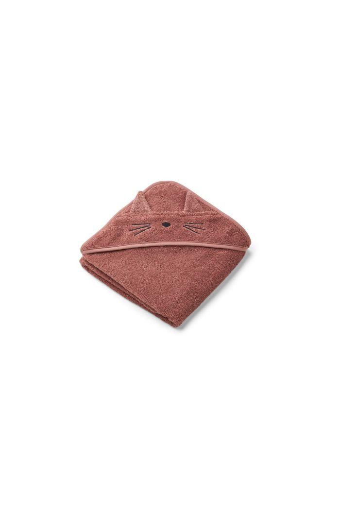 Liewood Albert Hooded Towel Cat dark rose_1