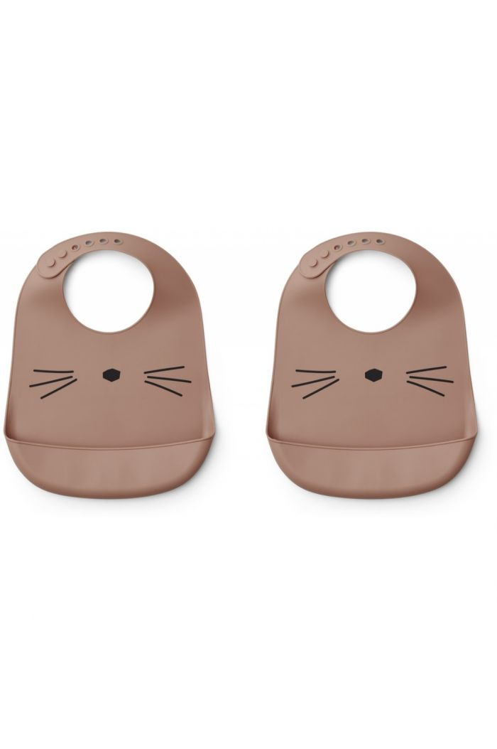 Liewood Tilda Silicone Bib 2-Pack Cat dark rose_1
