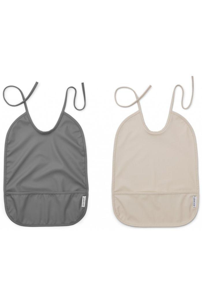 Liewood Lai Bib 2-pack Sandy / Stone Grey