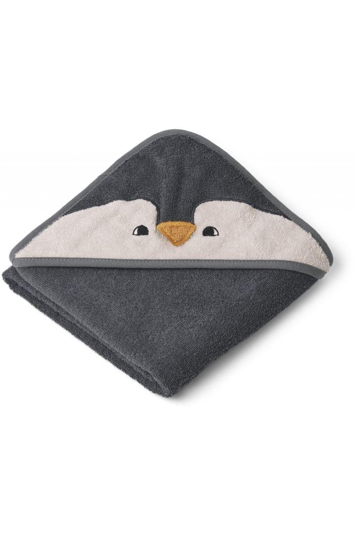 Liewood Albert Hooded Towel Penguin Stone Grey_1