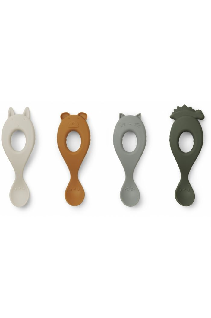 Liewood Liva Silicone Spoon 4-pack Hunter Green Mix