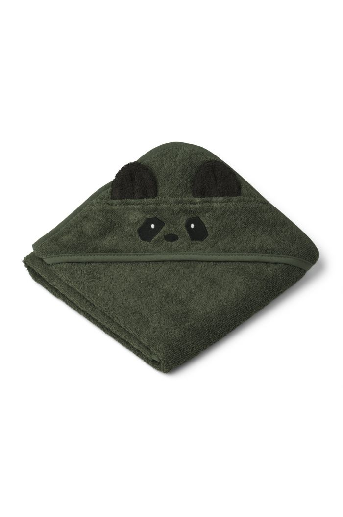 Liewood Albert Towel Hooded Panda Hunter Green_1