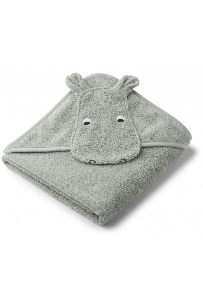 Liewood Albert Hooded Towel Hippo Dove blue_1