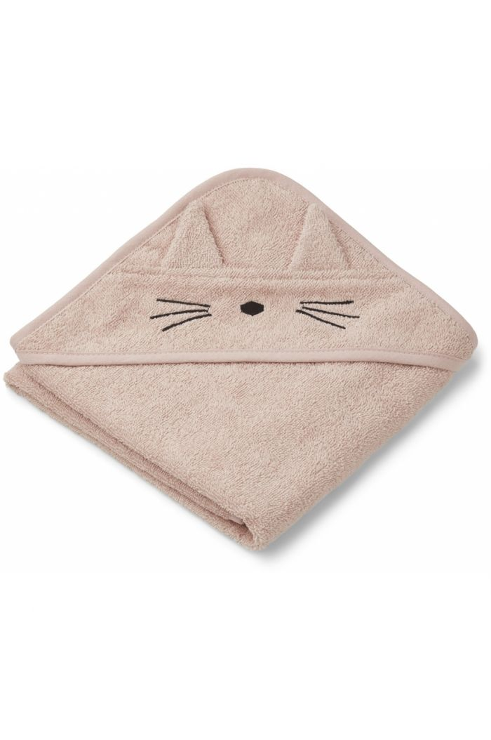 Liewood Albert Hooded Towel Cat rose_1