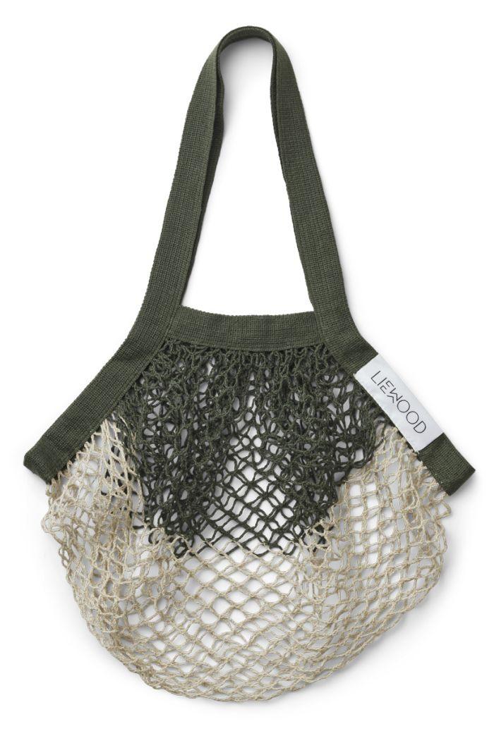 Liewood Aldo mesh tote bag Hunter green/sandy mix_1
