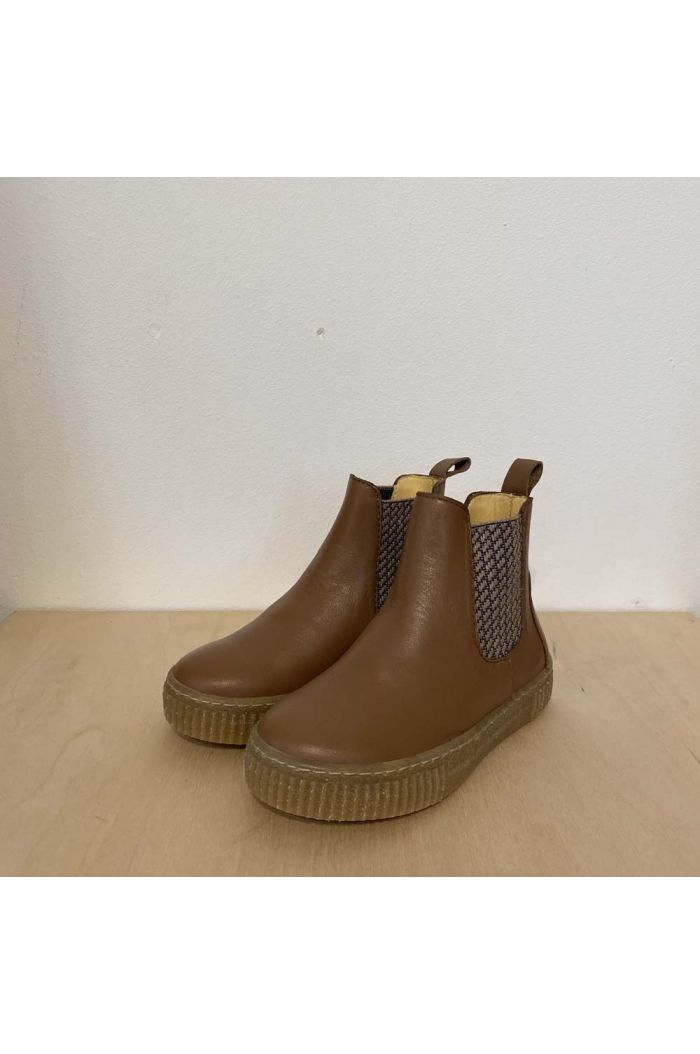 Angulus Chelsea boot with soft rubber sole Mocha/Check_1