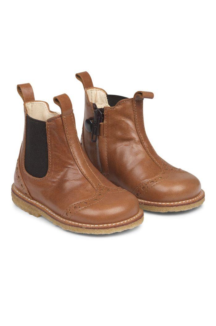 Angulus Starter chelsea boot with elastic and zipper Cognac/Dark Brown_1