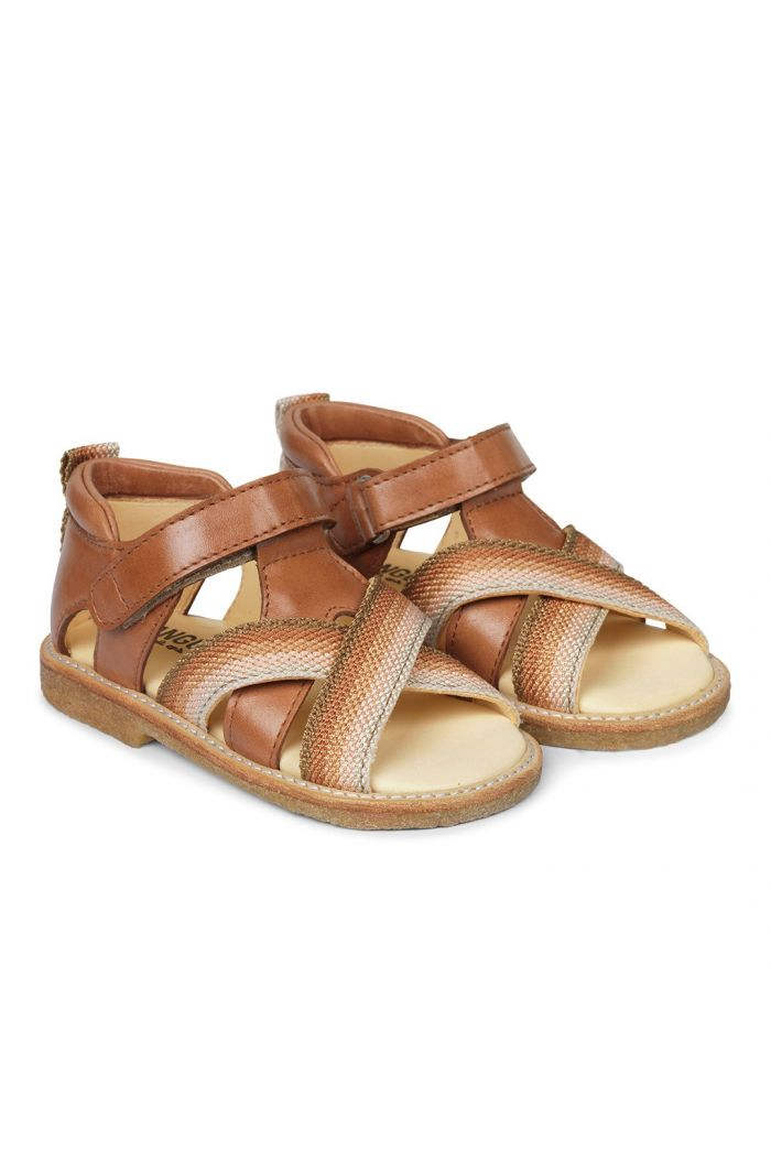 Angulus Starter sandal with velcro closure Rose Rainbow/Cognac_1