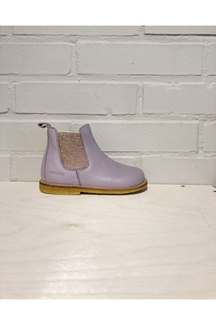 Angulus Starter chelsea boot with elastic and zipper Lavender/Rose Glitter_1