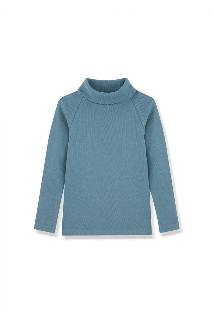 Kids on the Moon Turtleneck Top Cobalt_1