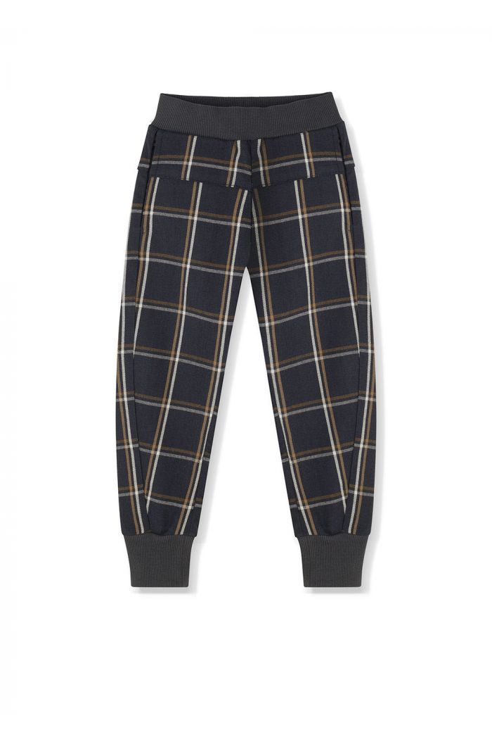 Kids on the Moon Plaid Jogger Anthracite_1