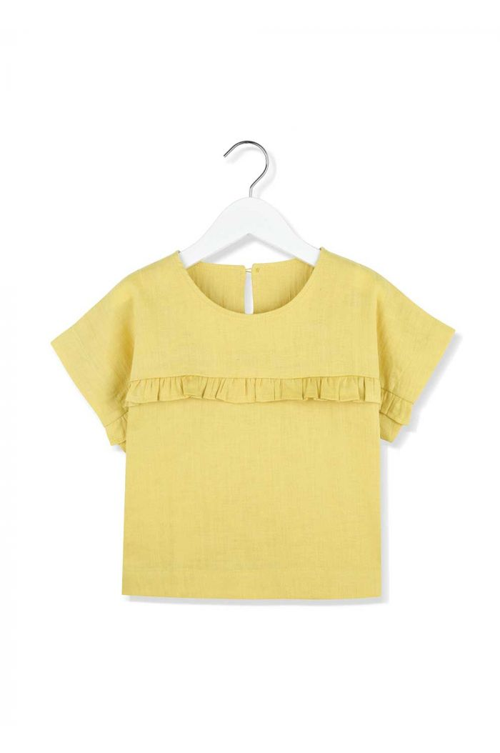 Kids on the Moon frill blouse morning light linen