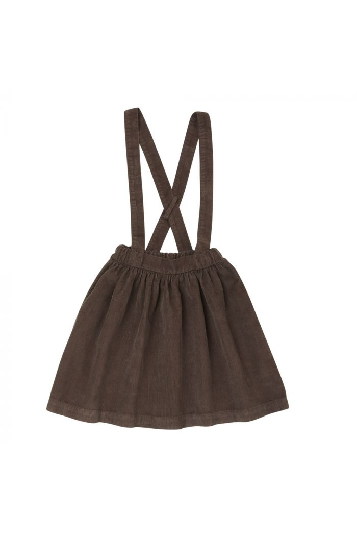 Blossom Kids Corduroy Suspender Skirt Dark Chocolate_1