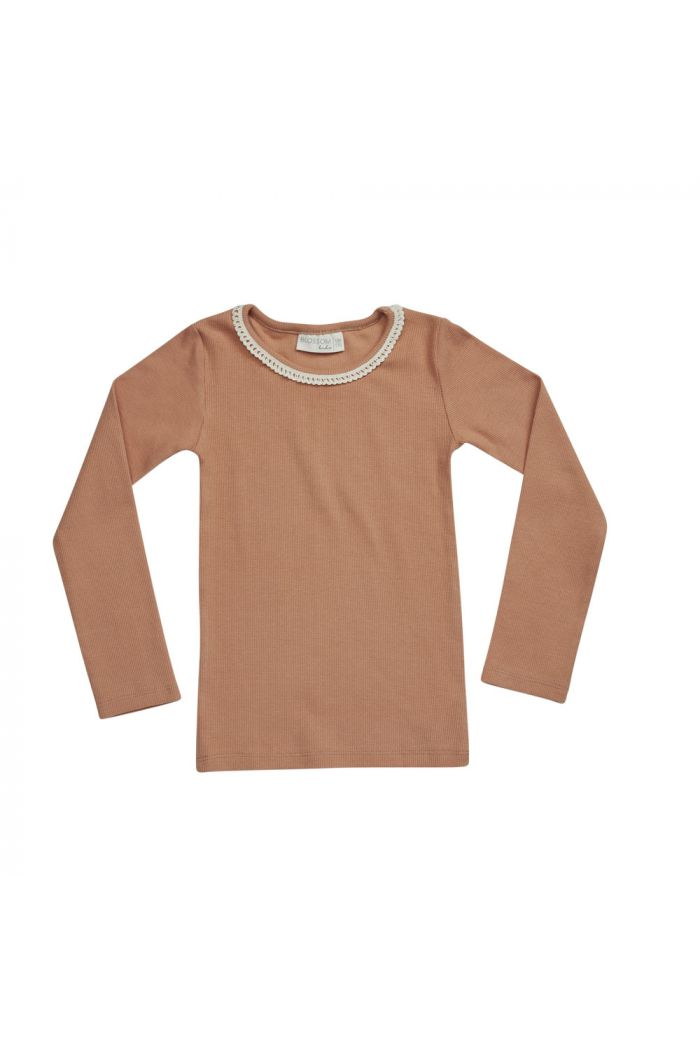 Blossom Kids Longsleeve rib with lace Deep Toffee_1