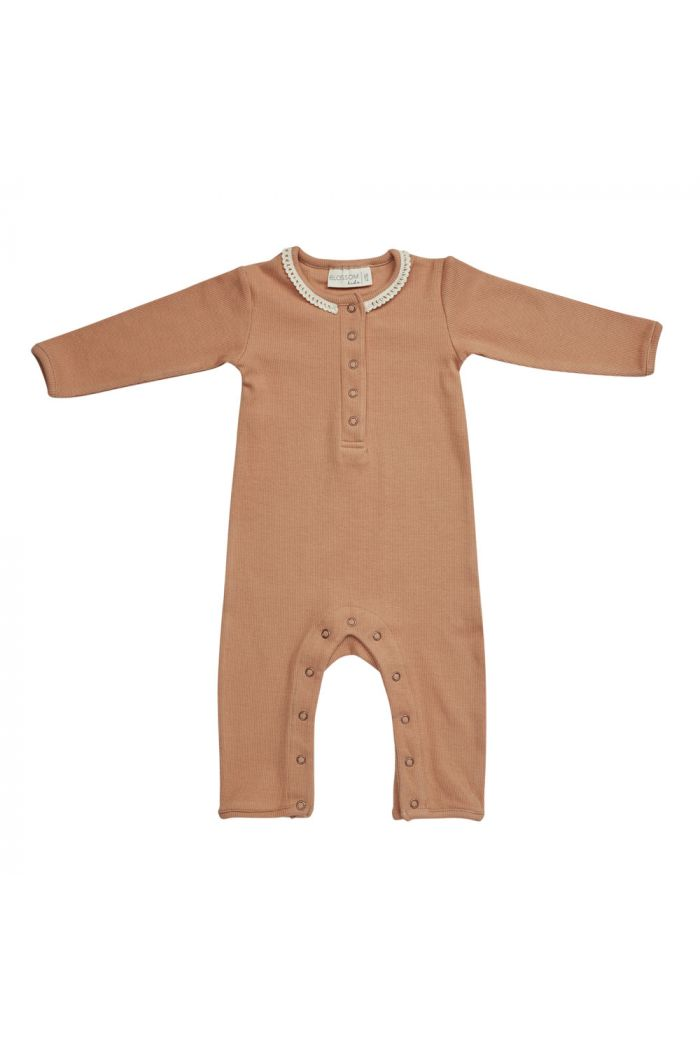 Blossom Kids Playsuit with lace Deep Toffee_1