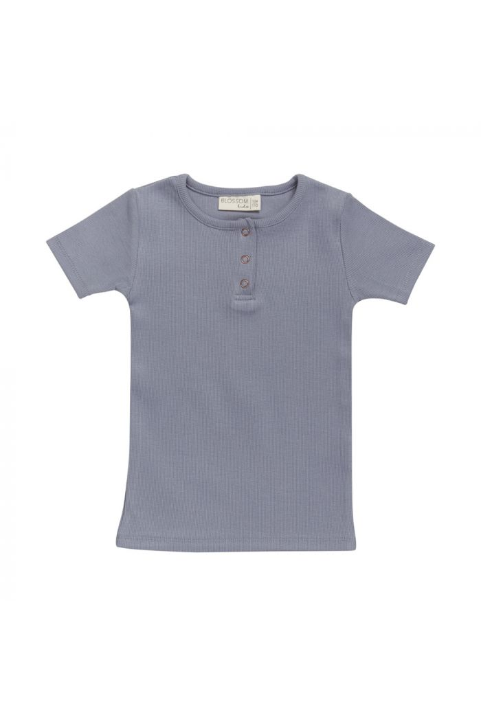Blossom Kids Henley Short Sleeve Shirt Blue grey