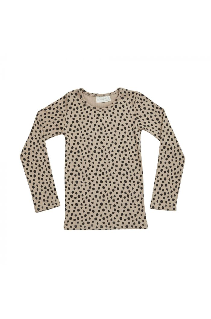 Blossom Kids Longsleeve rib Animal Dot, Warm Sand_1