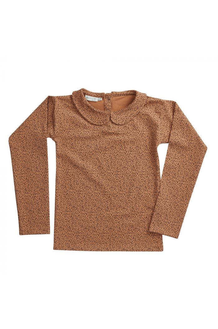 Blossom Kids Peterpan longsleeve shirt Leave Drops, Caramel Fudge_1