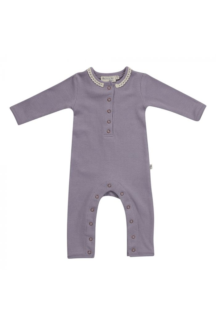 Blossom Kids Playsuit soft rib Lavender Gray with lace_1
