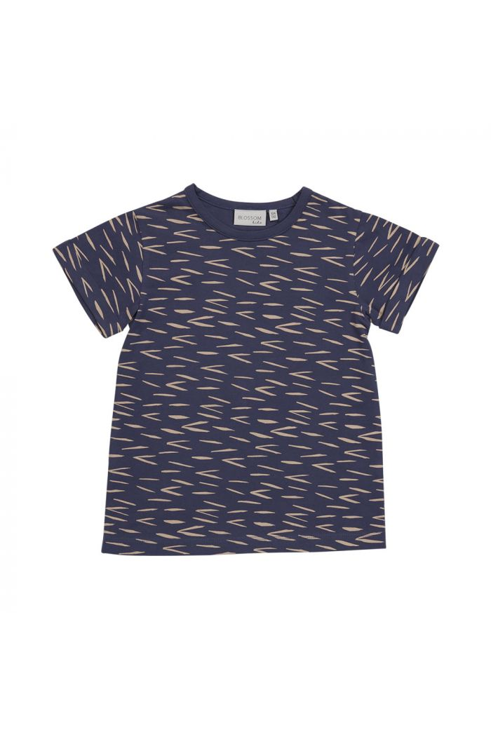 Blossom Kids T-shirt Zig Zag Royal Blue_1