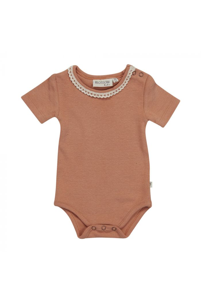 Blossom Kids Body short sleeve with lace soft rib Deep Toffee_1