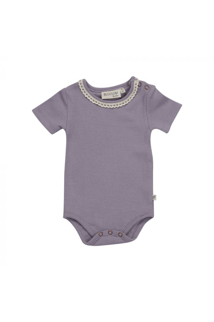 Blossom Kids Body short sleeve with lace soft rib Lavender Gray_1