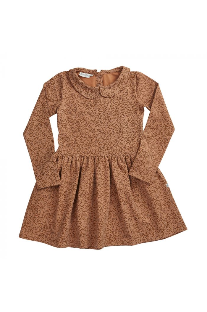 Blossom Kids Peterpan dress longsleeve Leave Drops, Caramel Fudge_1