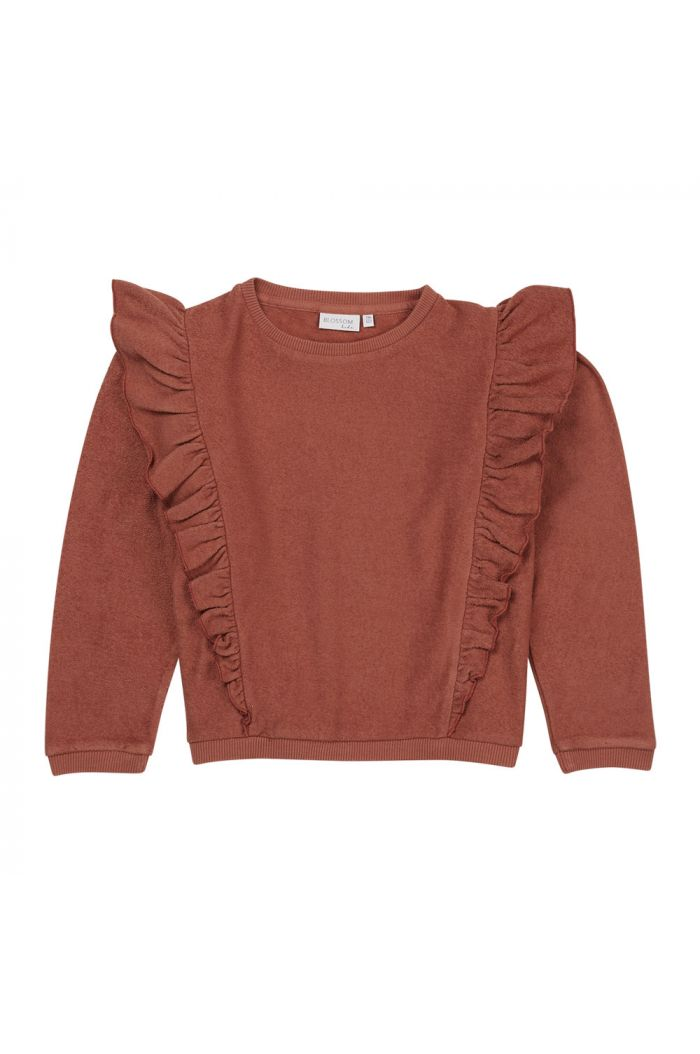 Blossom Kids Volant sweater Deep Coral_1