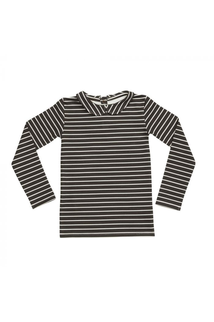 Blossom Kids Peterpan longsleeve shirt Petit Stripes, Espresso Black_1