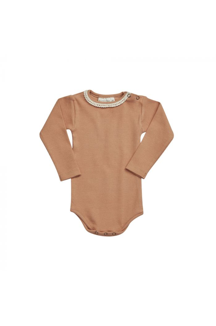 Blossom Kids Ribbed body with lace Deep Toffee_1