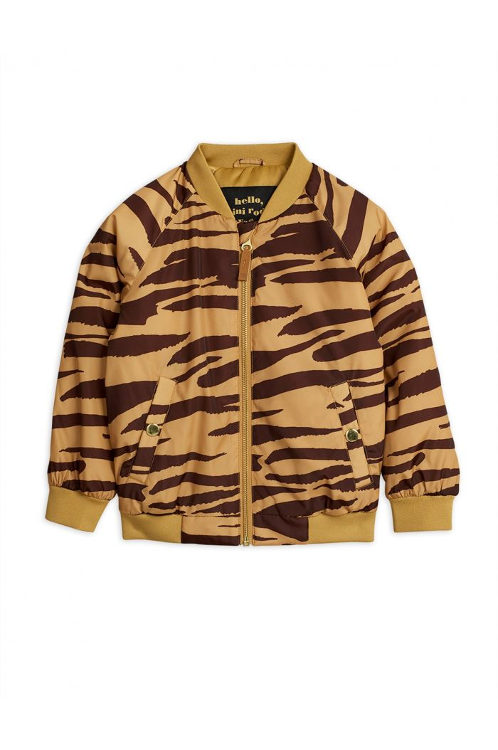 Mini Rodini Tiger baseball jacket Brown