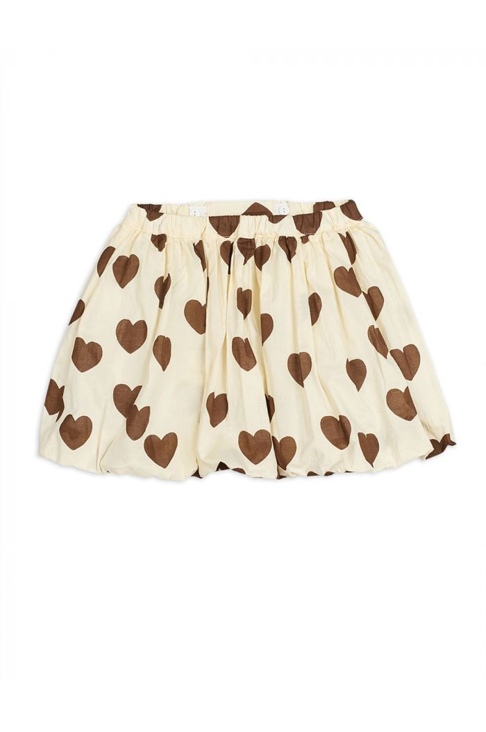 Mini Rodini Hearts woven balloon skirt Offwhite