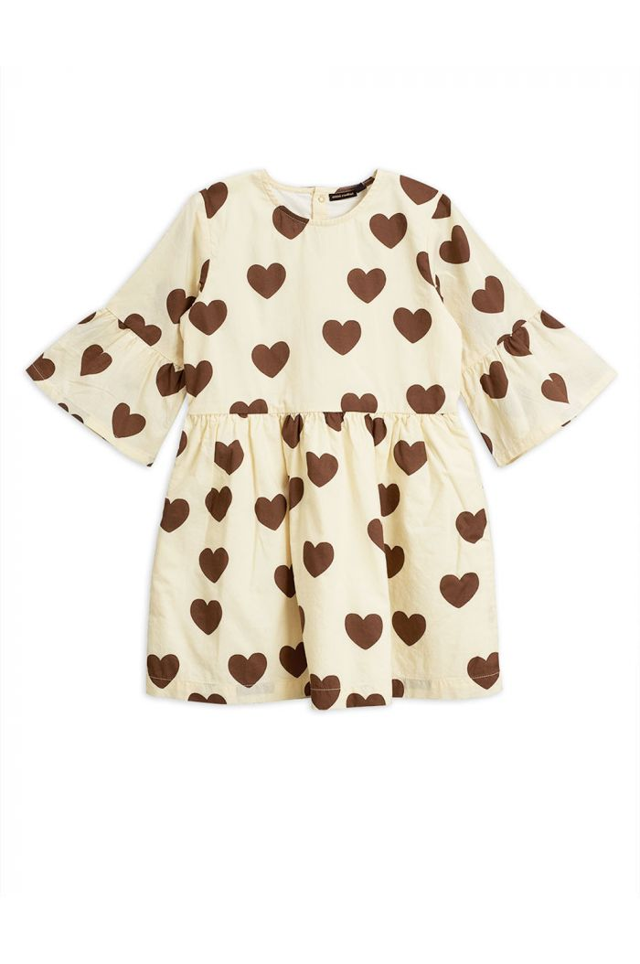Mini Rodini Hearts flared dress Offwhite