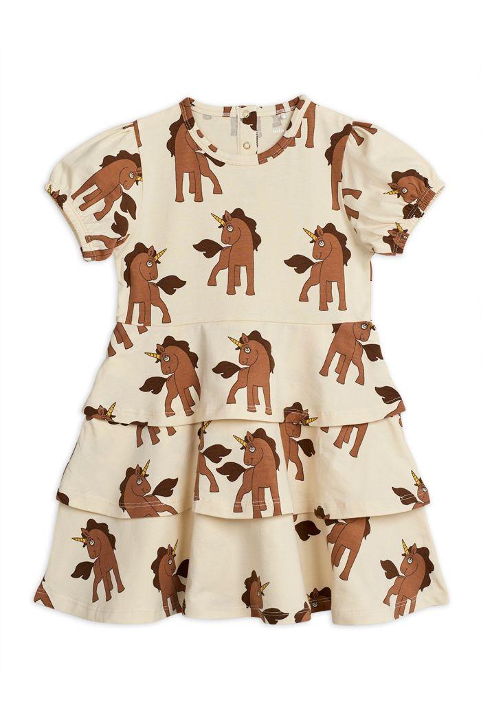 Mini Rodini Unicorns all-over print dress Offwhite