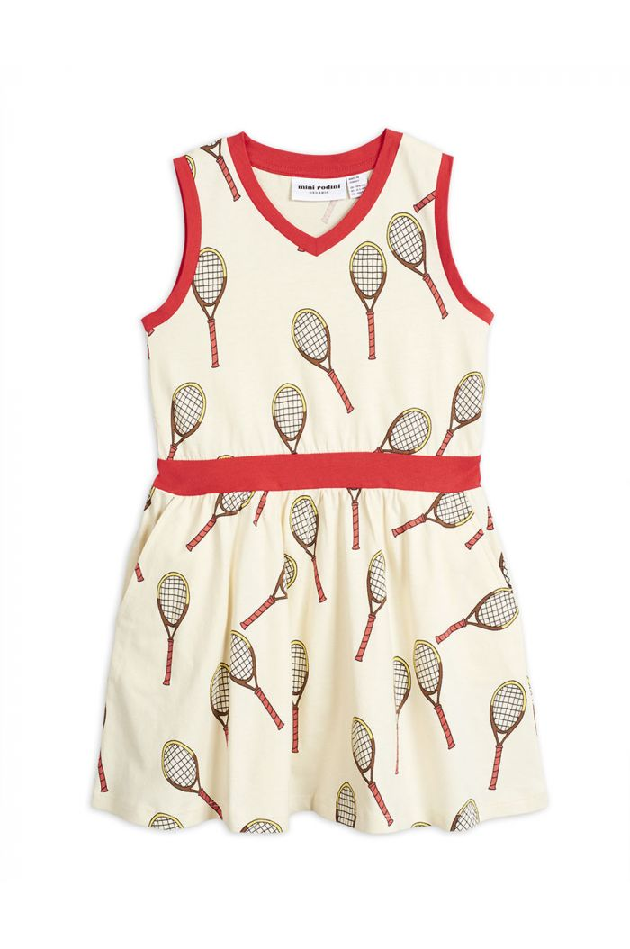 Mini Rodini Tennis all-over print tank dress Offwhite
