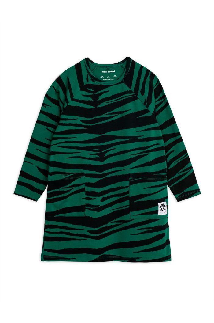 Mini Rodini Tiger longsleeve dress Green