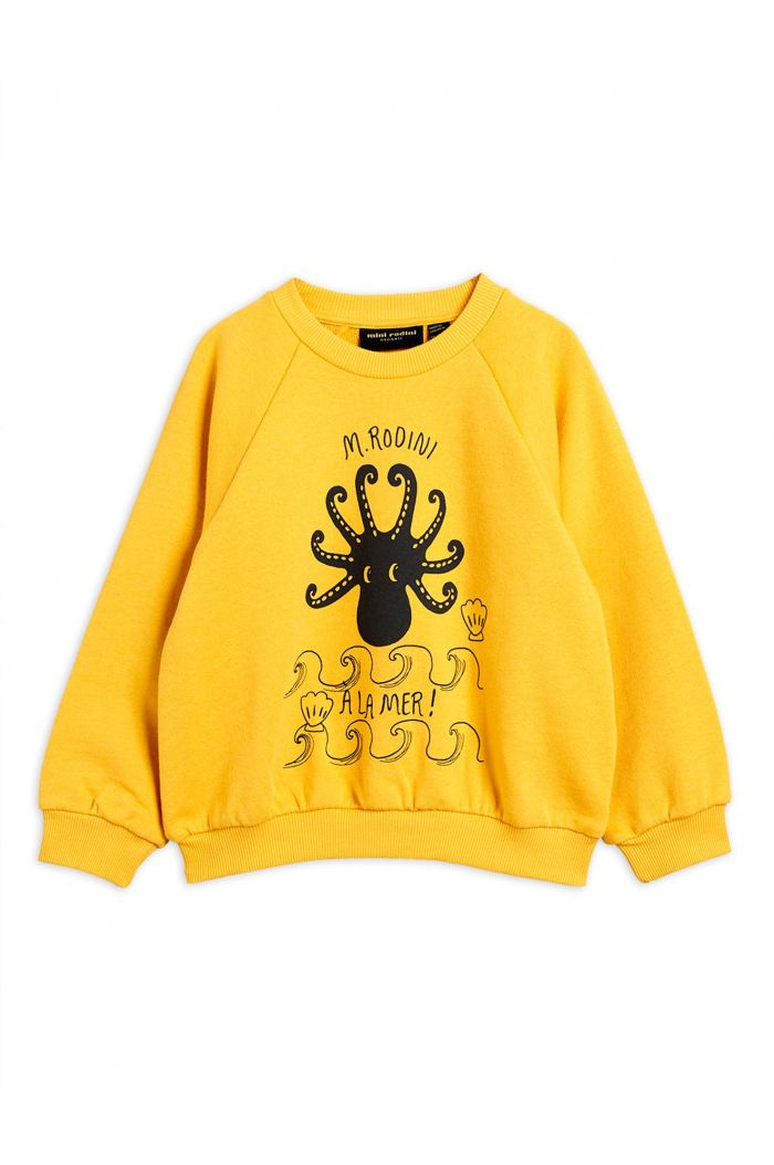 Mini Rodini Octopus single print sweatshirt Yellow
