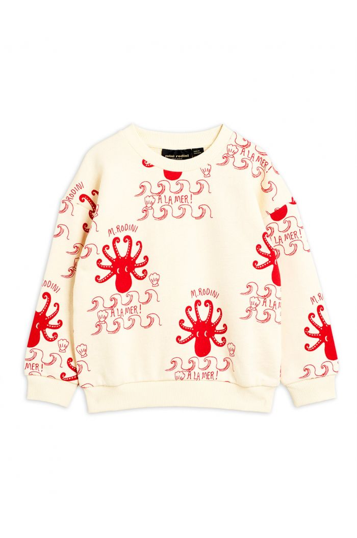 Mini Rodini Octopus all-over print sweatshirt Offwhite