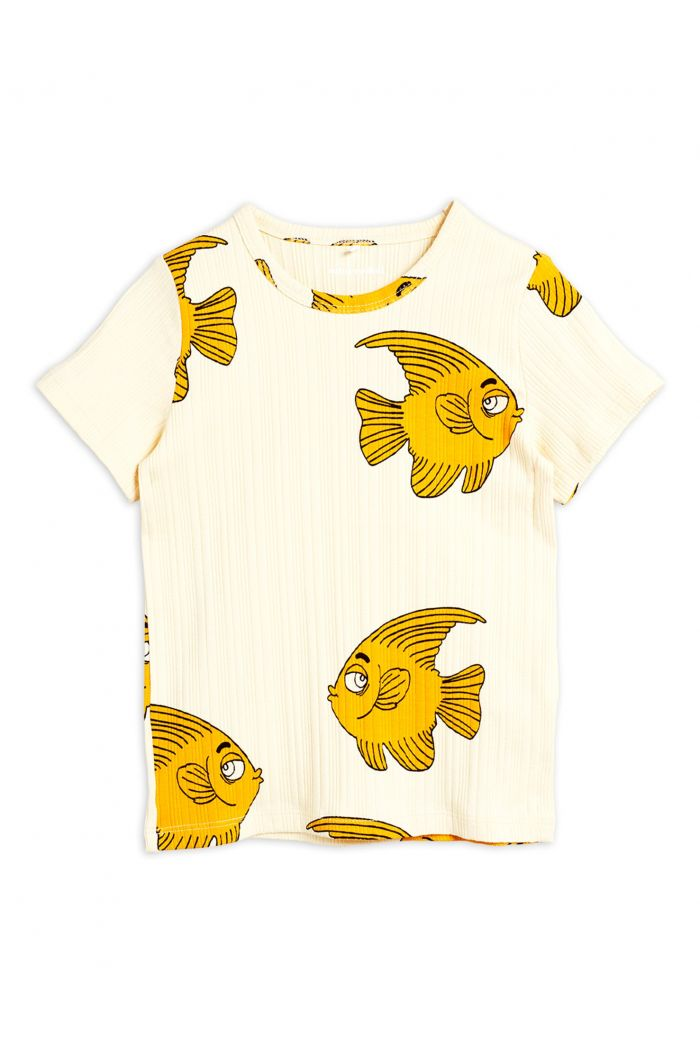 Mini Rodini Fish shortsleeve tee Offwhite