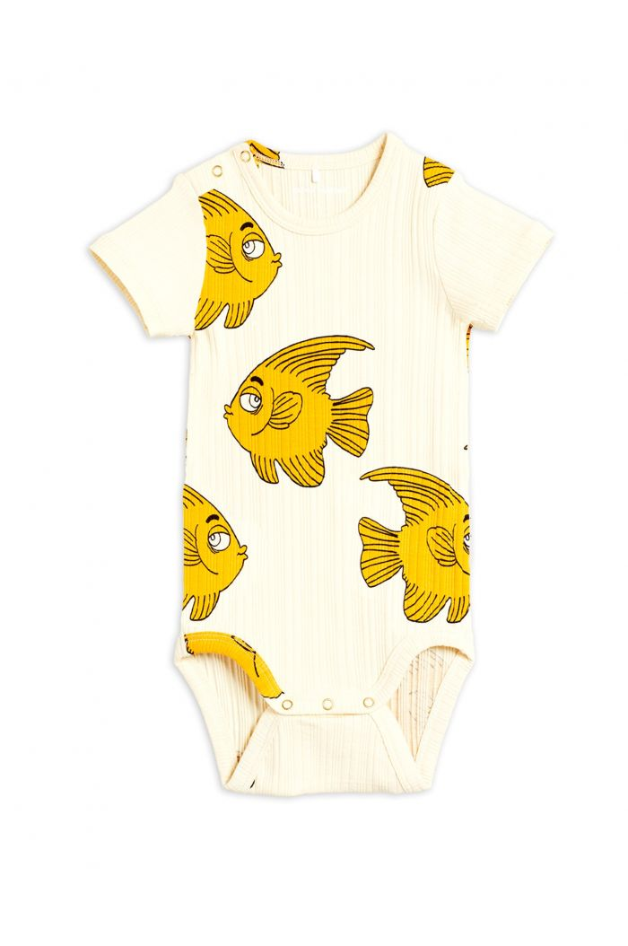 Mini Rodini Fish shortsleeve body Offwhite