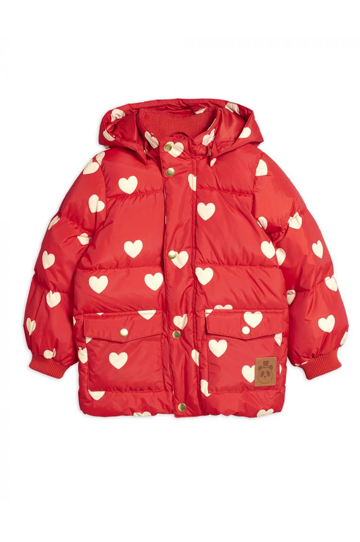 Mini Rodini Hearts pico puffer jacket Red_1