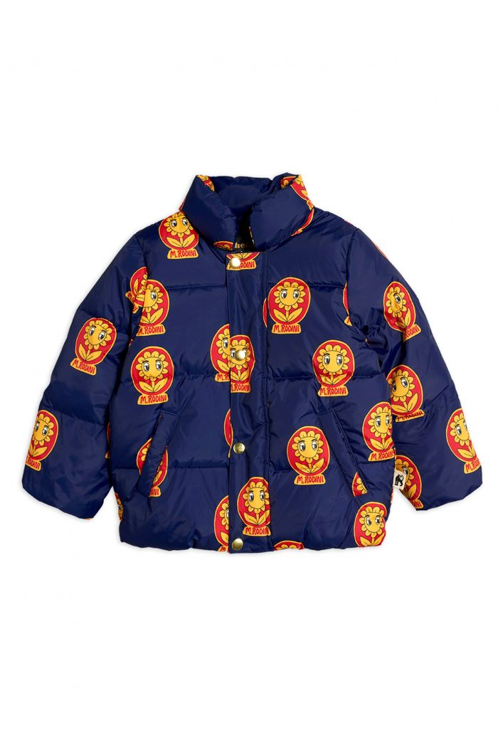 Mini Rodini MR flower puffer jacket Navy_1