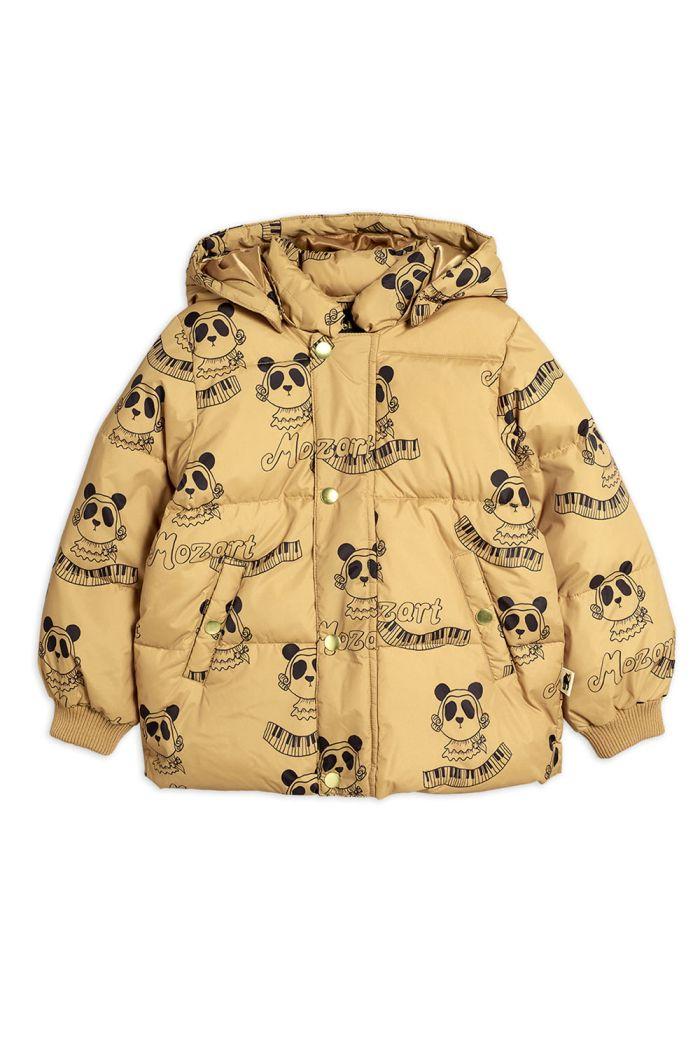Mini Rodini Mozart panda puffer jacket Beige_1
